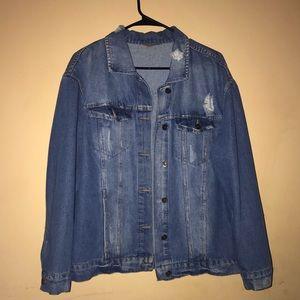 Distressed oversized jean jacket